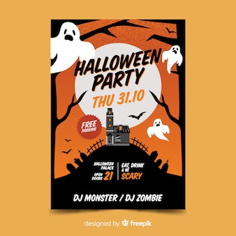 31 Oktober Halloween Feest.31 Oktober Spoken Halloween Feest Poster Vector Gratis