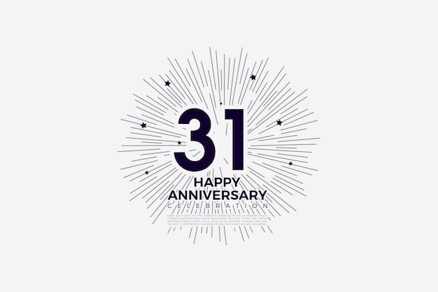 31e verjaardag in zwart op wit