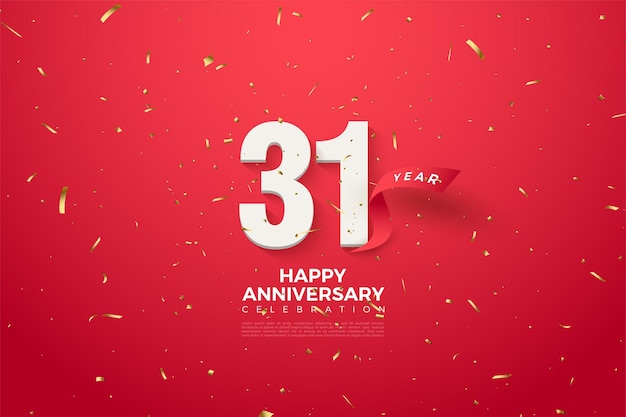31e verjaardag met cijfers en rood lint