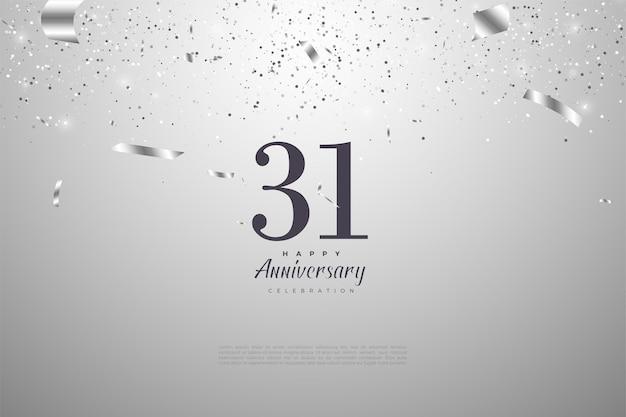 31e verjaardag met cijfers op een zilveren achtergrond
