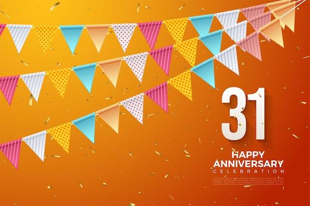 31e verjaardag met kleurrijke cijfers en vlaggen