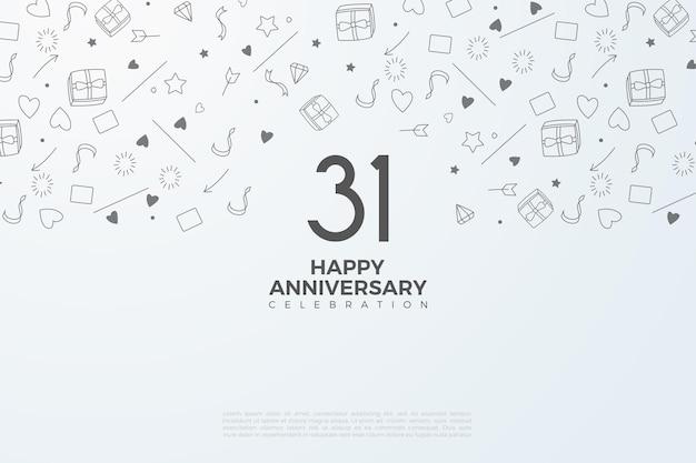 31e verjaardag met zwart op witte cijfers