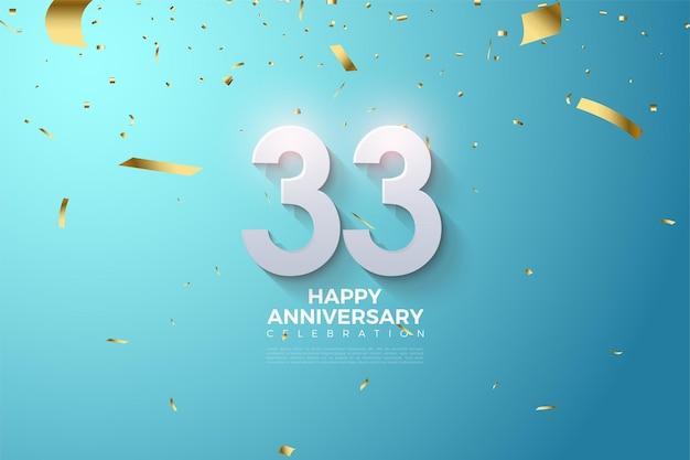 33e verjaardag met 3d-nummers in reliëf
