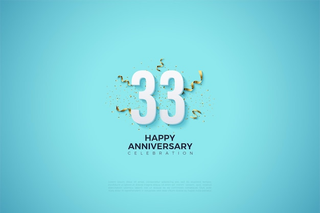 33e verjaardag met cijfers op een lichtblauwe achtergrond