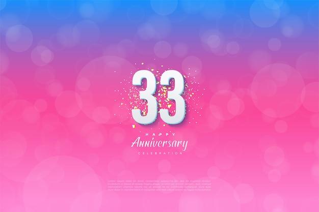 33e verjaardag met gegradeerde achtergronden