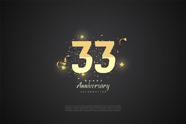 33e verjaardag met gesorteerde nummers op zwarte achtergrond