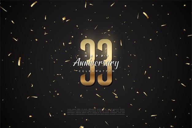 33e verjaardag met gouden cijfers en stippen