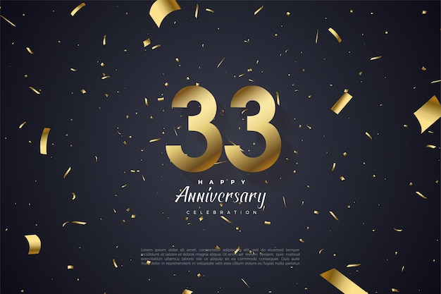 33e verjaardag met gouden cijfers Premium Vector