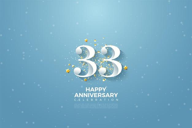 33e verjaardag met hemelachtergrondillustratie