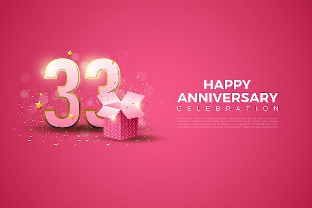 33e verjaardag met illustratie van geschenkdoos