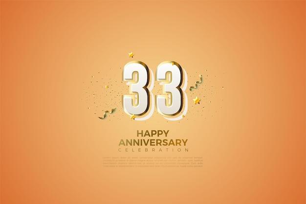 33e verjaardag met modern nummerontwerp