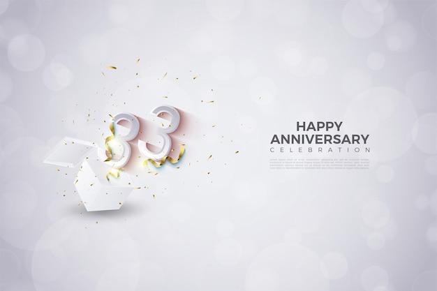 33e verjaardag met nummerillustratie die opduikt Premium Vector