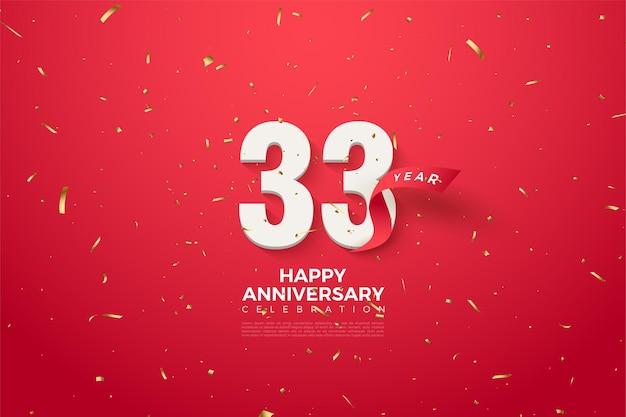 33e verjaardag met nummers versierd met rode linten