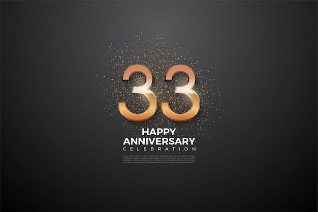 33e verjaardag met oplichtende cijfers