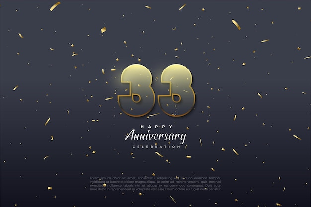 33e verjaardag met transparante cijfers