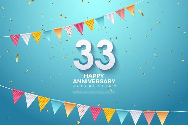 33e verjaardag met twee rijen kleurrijke vlaggen