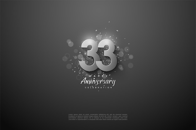 33e verjaardag met zilveren cijfers op zwarte achtergrond