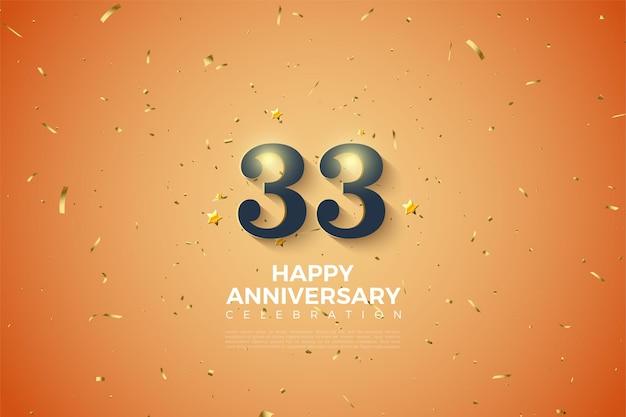 33e verjaardag met zwarte cijfers op een gestippelde achtergrond