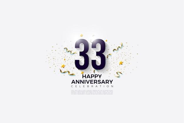 33e verjaardag met zwarte cijfers op een helderwitte achtergrond