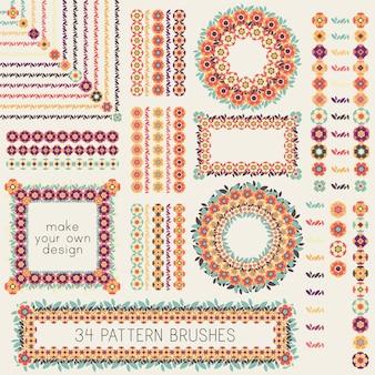 34 decoratieve vectorpatroonborstels met bloemen en bladeren. retro stijl natuurlijke frames, randen, kransen, decoraties.