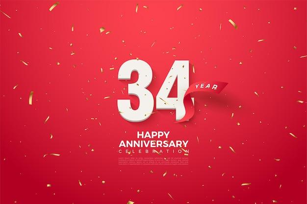 34e verjaardag met cijfers en rood lint