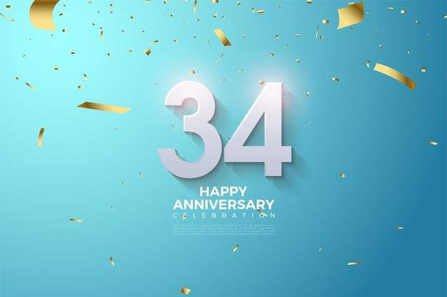 34e verjaardag met gearceerde 3d-nummers