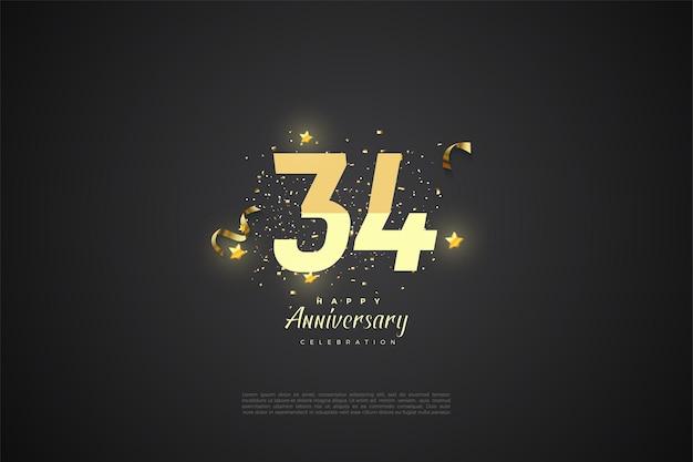 34e verjaardag met gesorteerde nummers op zwarte achtergrond