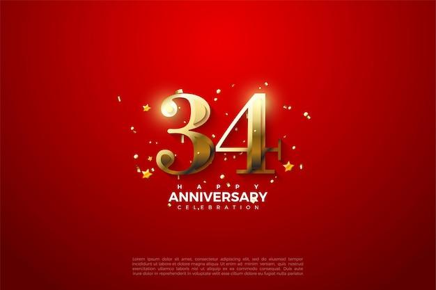 34e verjaardag met luxe gouden cijfers op een rode achtergrond