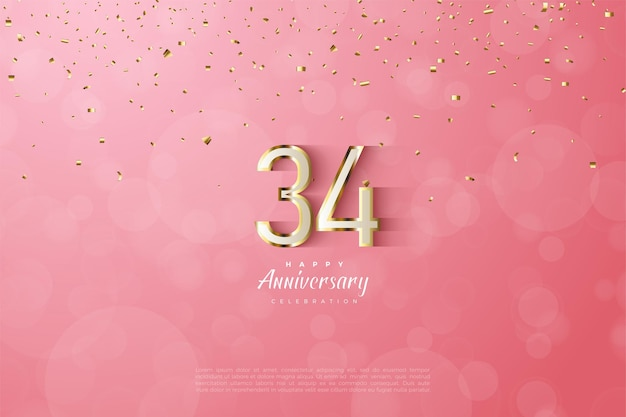 34e verjaardag met luxe gouden omrande cijfers