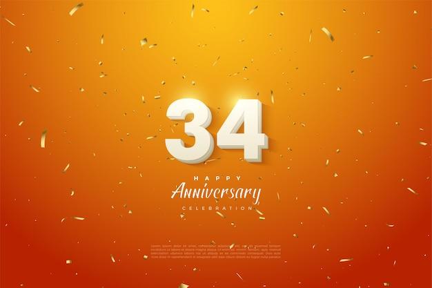 34e verjaardag met stralende cijfers