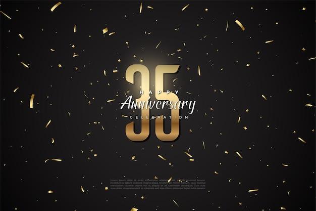 35-jarig jubileum met gouden cijfers en stippen