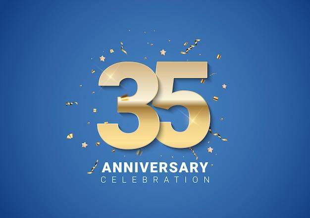 35 verjaardag achtergrond met gouden cijfers, confetti, sterren op heldere blauwe achtergrond. vectorillustratie eps10