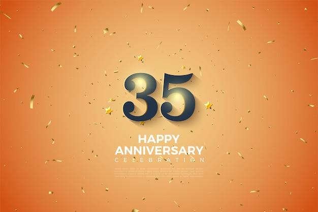 35e verjaardag met gouden cijfers en stippen op oranje achtergrond