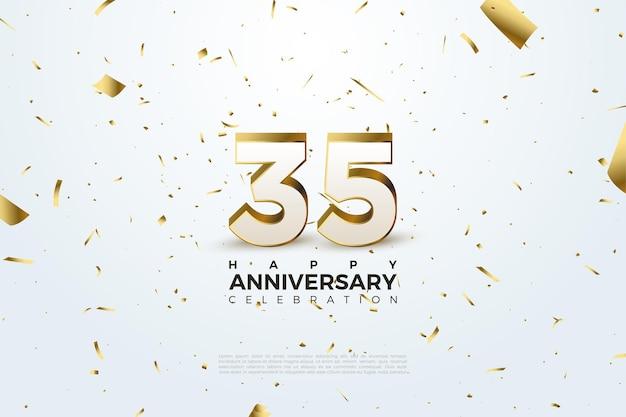 35e verjaardag met verspreide gouden cijfers en papier