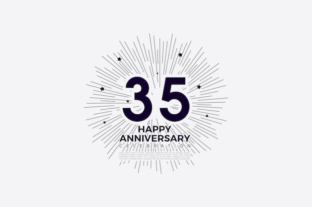 35e verjaardag met zwart op witte cijfers