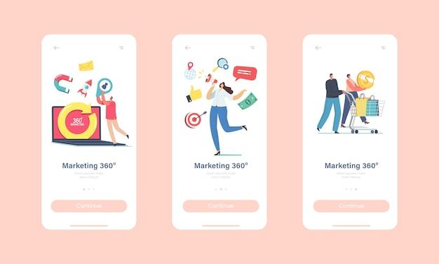 360 graden marketing mobiele app-pagina aan boord van schermsjabloon. kleine karakters op enorme laptop met draaiende pijl. manager attract clients gebruiken advertising concept. cartoon mensen vectorillustratie