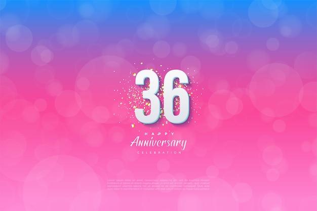 36e verjaardag met gegradeerde achtergrondillustratie