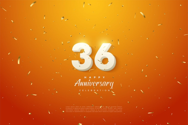36e verjaardag met stralende cijfers