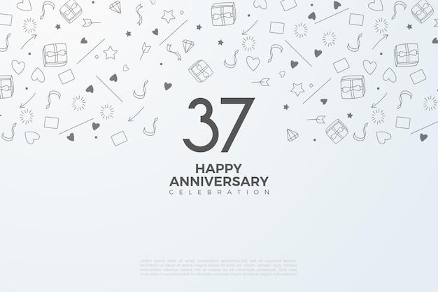 37-jarig jubileum met cijfers en afbeeldingen op de achtergrond