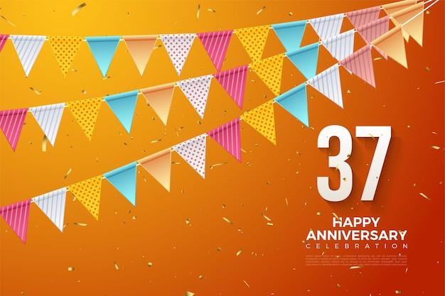 37-jarig jubileum met cijfers en rijen kleurrijke vlaggen