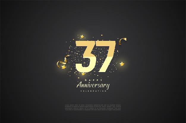 37-jarig jubileum met cijfers en sterren