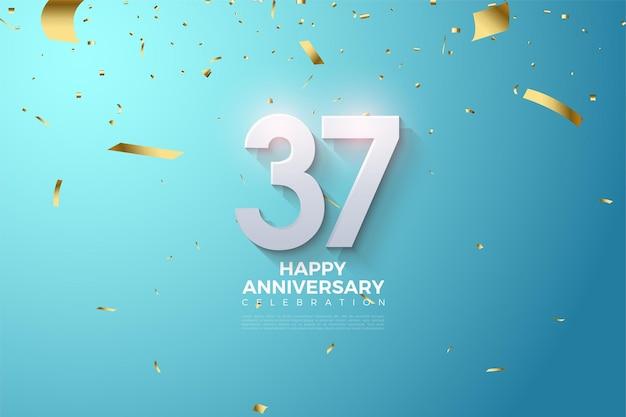 37-jarig jubileum met gearceerde 3d-nummers