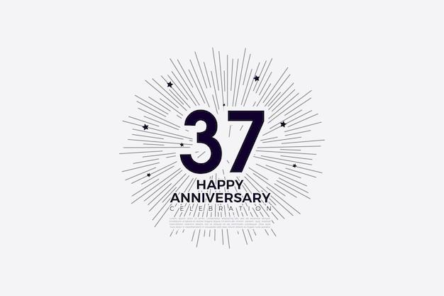 37-jarig jubileum met geïllustreerde achtergrond