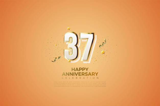 37-jarig jubileum met moderne cijfers