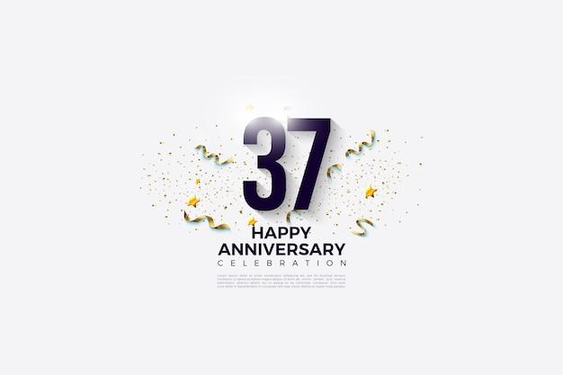 37e verjaardag met cijfers en feestelijk feest op witte achtergrond