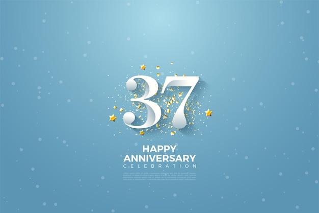 37e verjaardag met getallen illustratie op hemelachtergrond