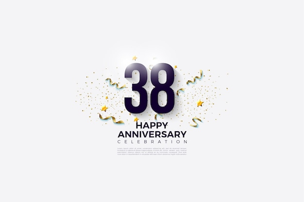 38-jarig jubileum met plat ontwerpnummer en feestfestiviteiten