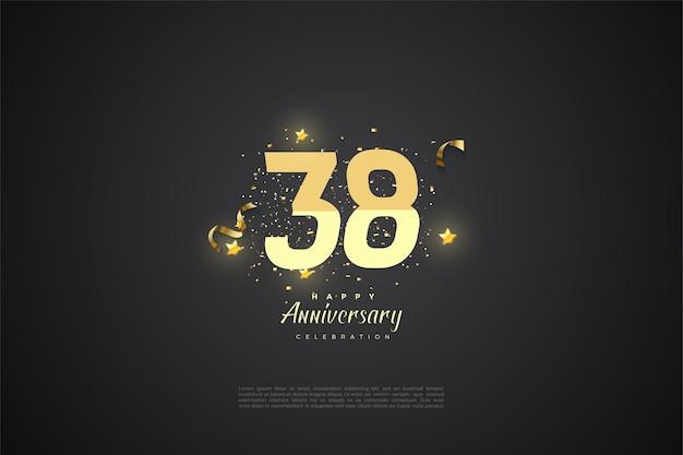 38e verjaardag achtergrond met gesorteerde nummers