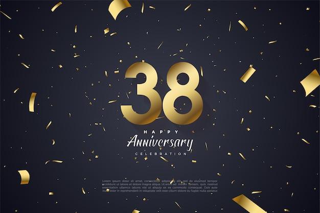 38e verjaardag met cijfers en goudpapier