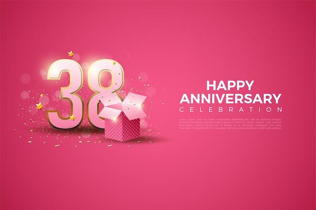 38e verjaardag met illustratie van de geschenkdoos